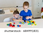 two child boy playing with... | Shutterstock . vector #684991831
