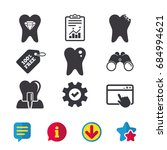 dental care icons. caries tooth ...