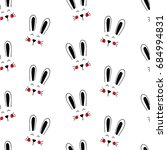 cute hand drawn bunny face.... | Shutterstock .eps vector #684994831