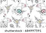 sweet flamingo illustration... | Shutterstock .eps vector #684997591