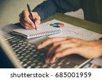 close up hands man doing... | Shutterstock . vector #685001959