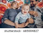 cute family resting on boho...   Shutterstock . vector #685004827