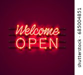 neon welcome open signboard on... | Shutterstock .eps vector #685004851