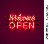 neon welcome open signboard on...   Shutterstock .eps vector #685004851