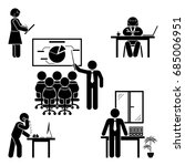 stick figure office poses set.... | Shutterstock .eps vector #685006951
