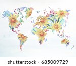 world map watercolor painting... | Shutterstock . vector #685009729
