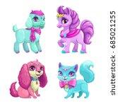 little cute pets icons set.... | Shutterstock .eps vector #685021255
