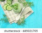 jar of fresh vegetable juice on ... | Shutterstock . vector #685021705