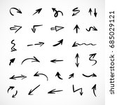 hand drawn arrows  vector set | Shutterstock .eps vector #685029121
