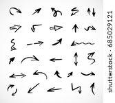 hand drawn arrows  vector set | Shutterstock .eps vector #685029121