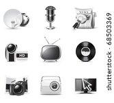 media icons   b w series | Shutterstock .eps vector #68503369