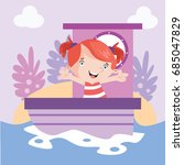 little sailor girls riding a... | Shutterstock .eps vector #685047829