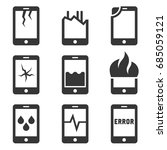 mobile phone damage icon set.... | Shutterstock .eps vector #685059121