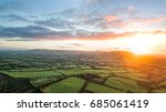 aerial view  sunrise on foggy... | Shutterstock . vector #685061419