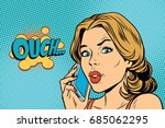 ouch woman speaks on the... | Shutterstock .eps vector #685062295