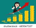 business woman running on coin...   Shutterstock .eps vector #685067107