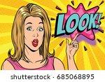 pop art kitsch woman look.... | Shutterstock .eps vector #685068895