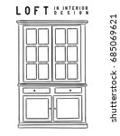 wardrobe. outline. loft in... | Shutterstock .eps vector #685069621