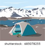 someone lying in the camp tent... | Shutterstock .eps vector #685078255