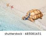Small photo of land turtle go into see as wear swimming goggles and snorkeling gear, funny safety and paradox concepts