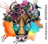 cow portrait with floral wreath ... | Shutterstock . vector #685083061