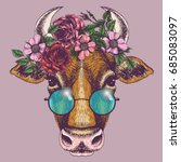 cow portrait with floral wreath ... | Shutterstock .eps vector #685083097