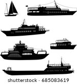 Ships And Boats Silhouettes  ...