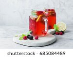 summer berry drink. lemonade... | Shutterstock . vector #685084489