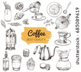 coffee. set of hand drawn... | Shutterstock .eps vector #685089619