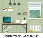 work room interior for home or... | Shutterstock . vector #685089739