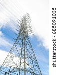 high voltage power pole with... | Shutterstock . vector #685091035
