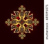 golden ancient pagan... | Shutterstock .eps vector #685091071
