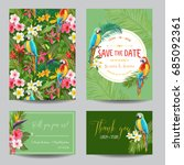 save the date card set.... | Shutterstock .eps vector #685092361
