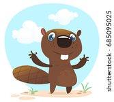 cute funny cartoon vector...   Shutterstock .eps vector #685095025