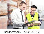 manager and worker with... | Shutterstock . vector #685106119