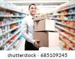 young worker with cardboard...   Shutterstock . vector #685109245