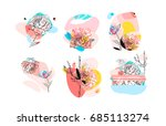hand drawn vector abstract... | Shutterstock .eps vector #685113274
