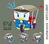 cartoon car set   red tuk tuk ... | Shutterstock .eps vector #685113865