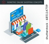 online shopping isometric icons ... | Shutterstock .eps vector #685114759