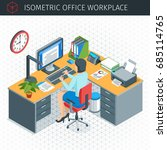 isometric office workplace... | Shutterstock .eps vector #685114765