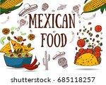 mexican food   guacamole  tacos ...   Shutterstock .eps vector #685118257