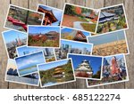 japan landmarks collage  ... | Shutterstock . vector #685122274