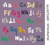 hand drawn alphabet. brush... | Shutterstock . vector #685124779