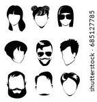 black and white portraits of... | Shutterstock .eps vector #685127785