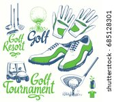 golf set with basket  shoes ... | Shutterstock .eps vector #685128301