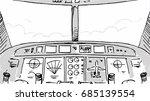 Airplane Cabin Cockpit Sketch...