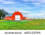 Red Orange Painted Barn Shed...