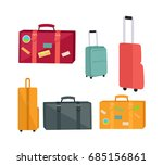 set of travel suitcases and... | Shutterstock . vector #685156861