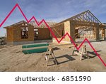 New home with graph showing losses in the housing market - stock photo