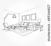 linear sketch of an interior.... | Shutterstock .eps vector #685166827